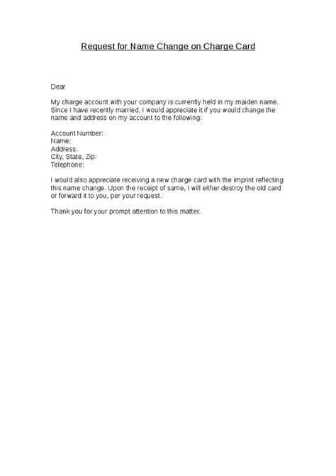 Cover Letter For Change Of Name by Name Change Charge Card Hashdoc Letter For Company