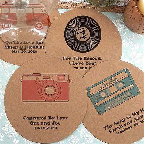 Custom Printed Kraft Paper Wedding Drink Coasters
