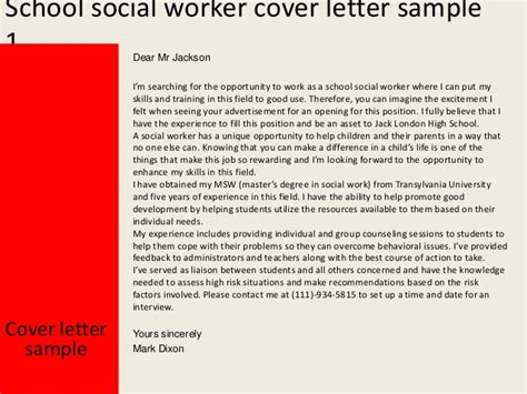 school social work cover letter school social worker cover letter