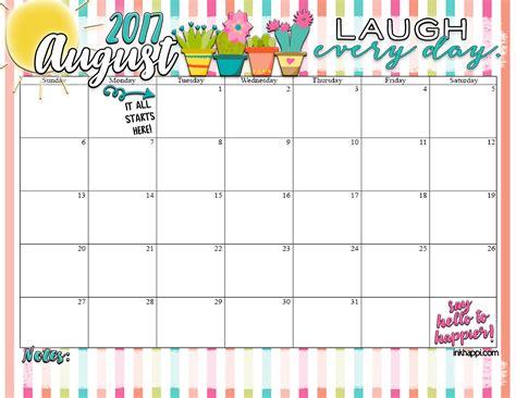 Calendar 2017 August December August 2017 Calendar Inkhappi