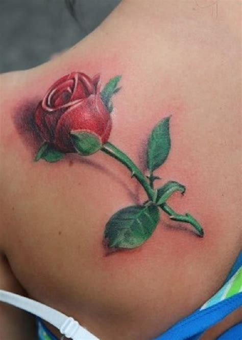 rose tattoo 3d on back shoulder for design