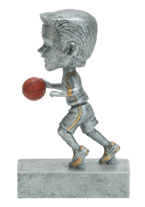bobblehead basketball trophy 5 5 quot boys silver basketball bobblehead trophy