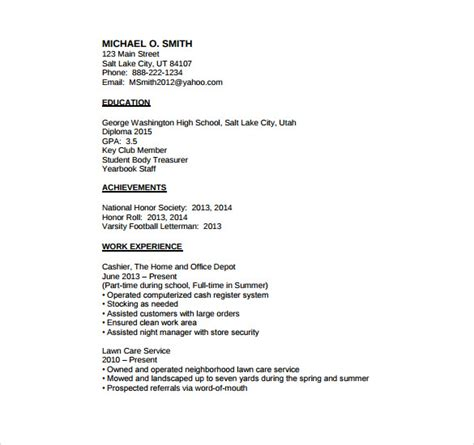 basic resume exles for highschool students basic resume templates for high school students 28