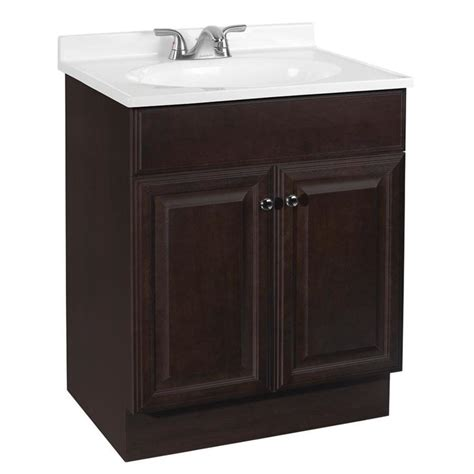 Bathroom Vanity With Sink Top Shop Project Source Java Integral Single Sink Bathroom Vanity With Cultured Marble Top Common