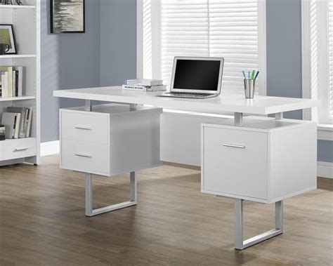 Monarch Specialties White Hollow Core Silver Metal Office White Hollow Desk