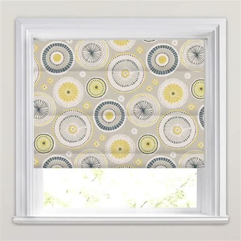 yellow patterned roman blinds yellow lime grey white funky circle patterned roman blinds