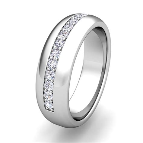his hers matching wedding band with diamonds in platinum ring