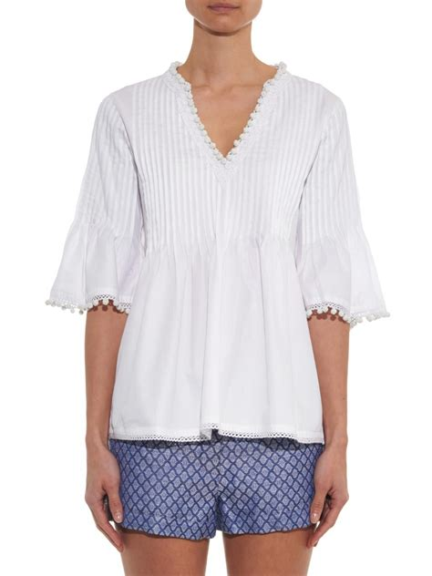 Talitha Top talitha geeti pintuck pleated cotton top in white lyst
