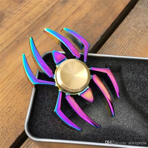 Fidget Spinner Rainbow Spider new colorful rainbow spider edc fidget spinner metal finger spinner for adhd relieve