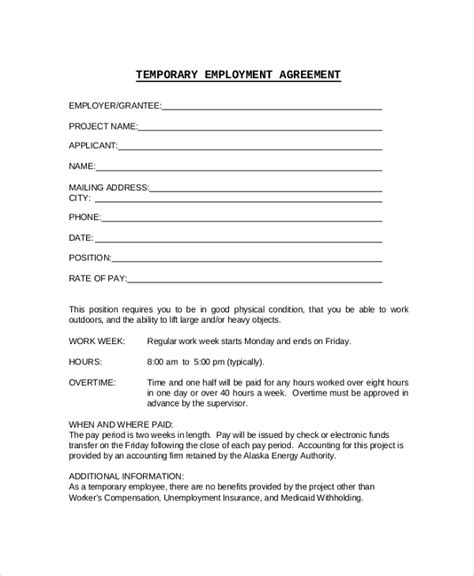 free temporary employment contract template sle employment contract 6 documents in pdf word