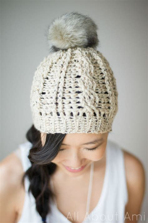 Subtle Version Of The Pom Pom Hat Me Stace by Cabled Beanie Version 2 All About Ami