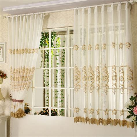 Elegant sheer curtains with embroidered patterns for short design