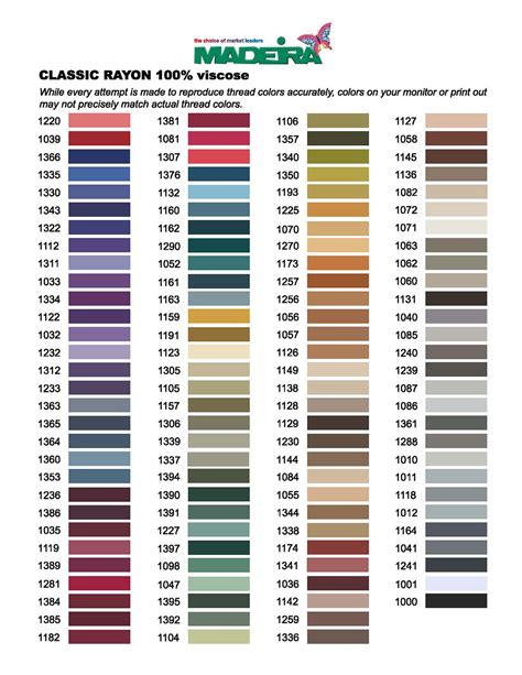 thread color chart thread colors