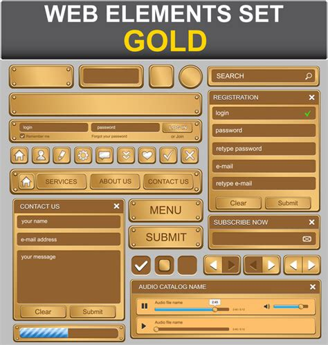 eps format photoshop elements gold web elements set vector vector web design free download
