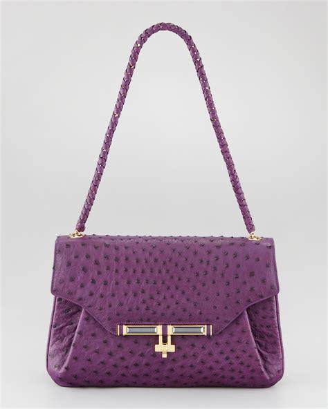 Kara Ross Cella Bag by Kara Ross Urbana Ostrich Satchel Bag Violet In