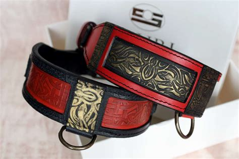 Handmade Leather Collars And Leads - shanti black and leather collar harakhan kennel