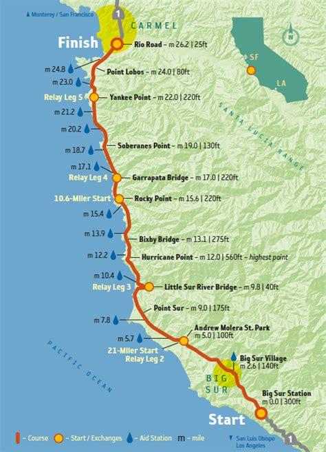 map of big sur california race preview big sur international marathon running