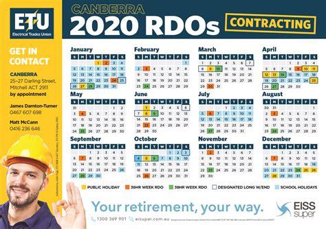 canberra construction contracting  rdo calendar