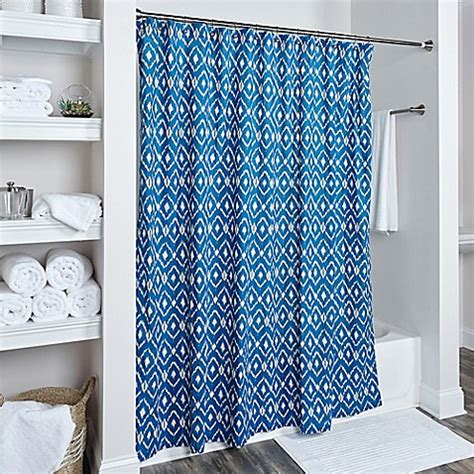blue ikat shower curtain buy rizzy home ikat shower curtain in blue from bed bath