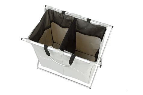Double Compartment Foldable Laundry Basket Keeps Your Two Compartment Laundry