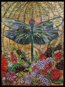 stained glass home decor dragonfly art nouveau print home decor 8x10 paper