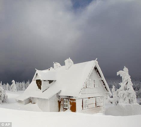frozen house fit for a frozen fairytale ice covered czech landscape looks like the perfect setting