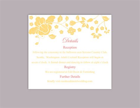 Editable Information Card Template by Diy Wedding Details Card Template Editable Word File