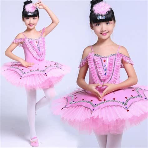 Kid Balerina Pink professional ballet costumes for white blue pink swan lake ballet costume for