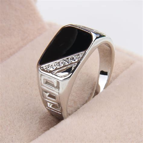 New Design Colorful Stainless Steel Mens Silver Rings Free Trendy Alloy Ring Ring Rhinestone Rectangle Finger