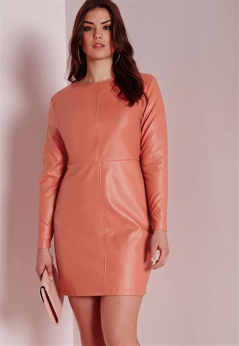 Dress Lyka 01 Pink missguided plus size faux leather dress pink in pink lyst