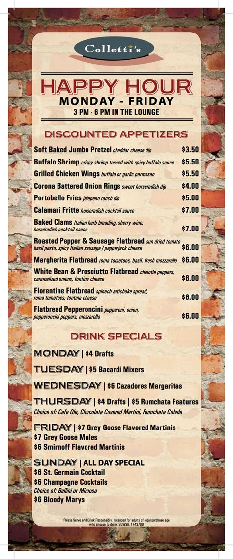 happy hour menu collettis