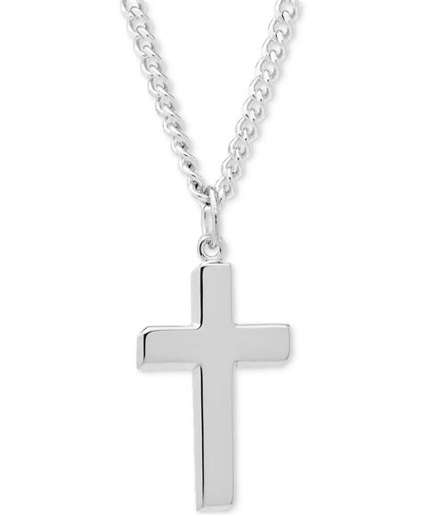 macy s simple cross pendant necklace in sterling silver in