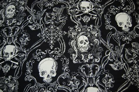 gothic upholstery fabric skull duggery black and white goth pirate skull and