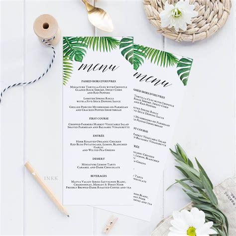 Tropical Printable Wedding Menu Template Kraft Menu Cards Menu Template Editable Menu Rustic Free Caribbean Menu Template