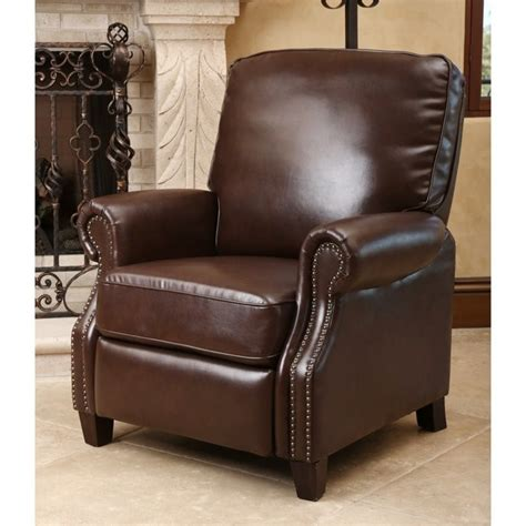 abbyson living recliner abbyson living clarkton leather pushback recliner in brown