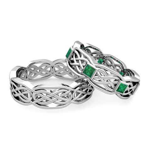 his emerald wedding ring of platinum celtic wedding band