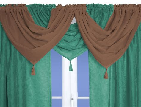 Teal Swag Curtains Teal Linen Effect Voile Swag And Tails Nets And Curtains