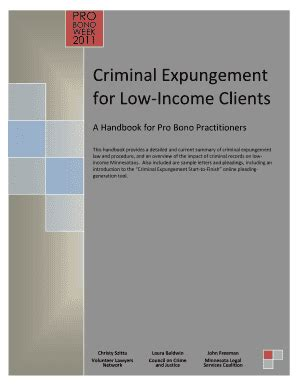 Md Search Expungement Fillable Projusticemn Criminal Expungement For Low Income Clients A Handbook