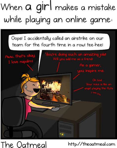 Girls Playing Video Games Meme - the oatmeal quot girl gamer quot comic was a monumentally bad idea