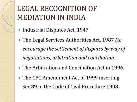 section 89 of code of civil procedure 1908 ppt emerging trends of mediation in india powerpoint