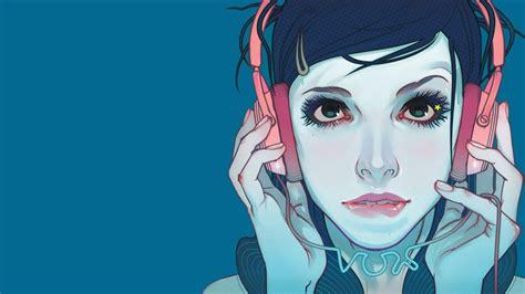 wallpaper girl headphones girl headphones art wallpaper 1920x1080 10559