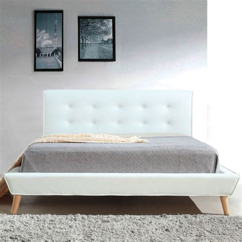 tufted bed frame button tufted pu leather bed frame in white buy