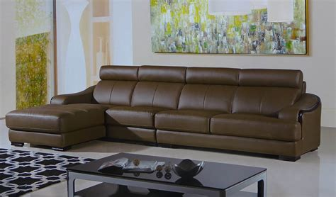Taupe Leather Sectional by Preludio Taupe Leather Modern Sectional Set