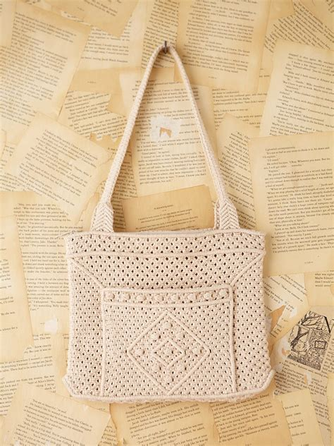 free vintage macrame shoulder bag in white lyst