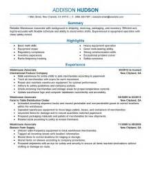best warehouse associate resume exle livecareer