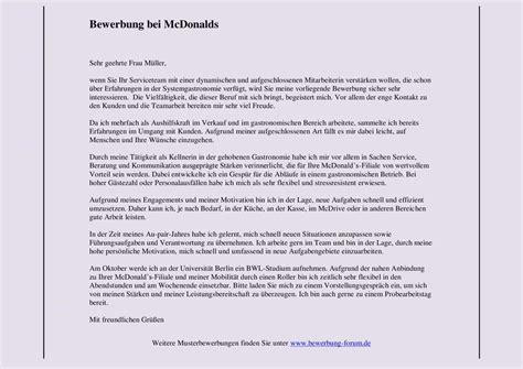 Bewerbungsschreiben Ferienjob Gemeinde mcdonalds bewerbung muster und tipps