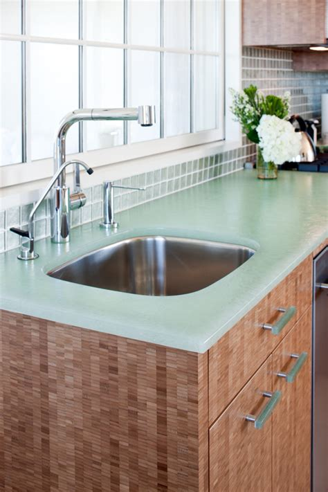 Recycled Glass Kitchen Countertops by Recycled Glass Countertops Kitchen With Cedar Bead Board
