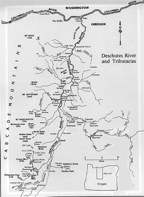 map of oregon mountains and rivers deschutes river and tributaries map pnw hiking