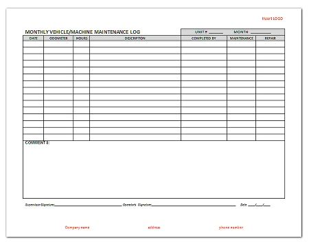 machine maintenance log template 29 images of monthly inspection log template infovia net