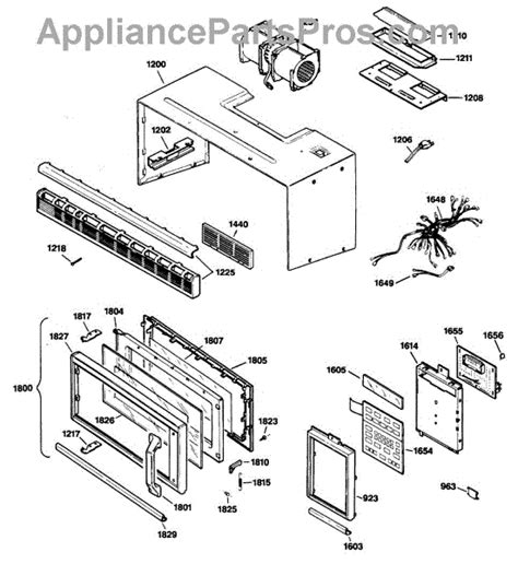 ge spacemaker microwave parts diagram ge wb15x326 microwave door handle appliancepartspros